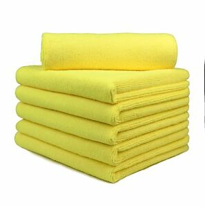 6 Pcs Microfiber Towels Auto House Car Boat Clean Polish Clothes 16 X24 Yellow