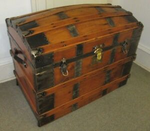 Antique Steamer Trunk Vintage Victorian Domed Round Top Wedding Brides Chest