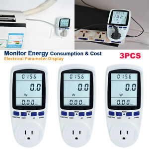 3pc Us Plug Digital Power Saving Energy Monitor Watt Amp Volt Kwh Meter Analyzer