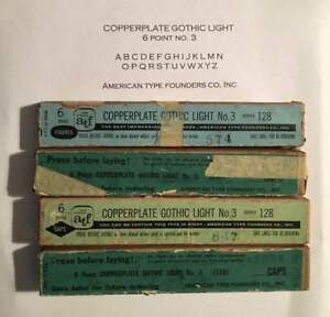 Letterpress Metal Type Copperplate Gothic Light 6 Point 4 Boxes Printer s Estate