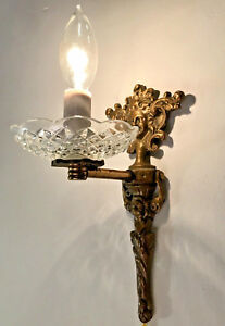 Vintage Brass Electric Wall Light Sconce Cherub Putti Angel Crystal Ornate Wired