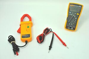 Fluke 115 True Rms Trms Multimeter Test Leads Ac dc Current Clamp Meter I410