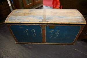 Antique Scandinavian Blue Painted Domed Trunk Circa 1800 1859 Shabby Chic