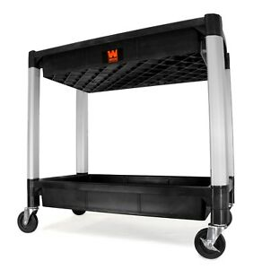 Wen 73162 Two tray 300 pound Capacity Double Decker Service And Utility Cart