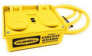 Hubbell Gfp15m Portable Gfci W Cord 120vac 4 Outlet Circuit Guard