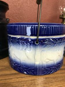 Vintage Blue Butter Crock