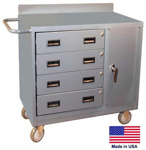 Cabinet Cart Portable Commercial Locking Cabinet Drawers 34h X 36w X 21d