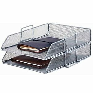 2 Tier Metal Mesh Stackable Letter Size A4 Paper Holder Tray Desk File Organizer