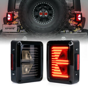 Xprite Black G6 Led Linear Tail Light With Smoke Lens For Jeep Wrangler Jk Jku