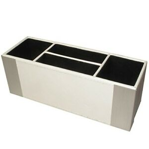 Architect Line Leather like Supply Caddy Desk Organizer White With Brushed Meta