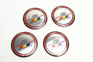 4pcs New Silvery Red Aluminum Mugen Power Wheel Center Hub Caps Stickers Emblems