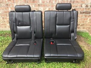 2007 2014 Tahoe Yukon Escalade Suburban Third Row Seat Black Ebony 07 14 Leather