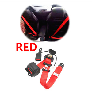 3 Point Retractable Car Seat Belts W curved Rigid Buckle W Warning Cable Red