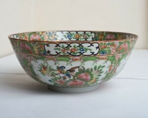 Antique Vintage Chinese Famille Rose Enamelled Porcelain Punch Fruit Bowl Birds