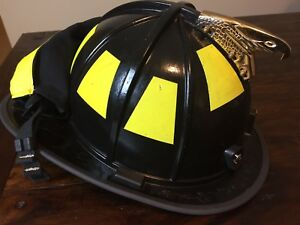 2010 Morning Pride Bf2 Gold Eagle Black Fire Firefighter Helmet With Goggles