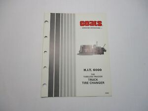 Used Coats H I T 6000 Truck Tire Changer Operating Instructions