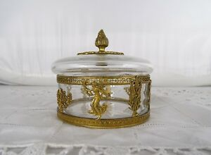 Fine Old Antique French Empire Gilt Bronze Ormolu Crystal Covered Box Casket