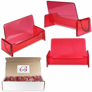 12pcs Clear Red Acrylic Office Business Name Card Holder Display Stand Desktop