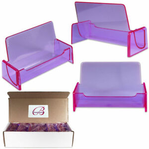 12pcs Clear Purple Acrylic Office Business Card Holder Display Stand Desktop