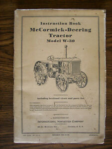 Ih Farmall International Mccormick W30 Owners Manual