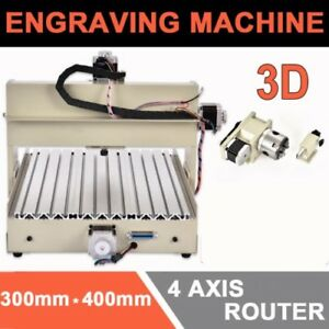 4 Axis 3040 Cnc Router Desktop Engraver Engraving Drilling milling Machine 400w