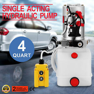 4 Quart Single Acting Hydraulic Pump Dump Trailer Power Unit Car Lift Reservoir