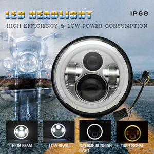 7inch Round Led Projector Headlight Replacement For Harley Davidson Motorcycle