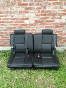 Yukon Escalade Tahoe Suburban 3rd Row Seats Black Perforated Leather 2007 2014