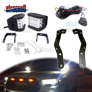 Fit 16 up Toyota Tacoma Trd Hood Ditch Pair 60w Led Light Bar Mount Bracket Set