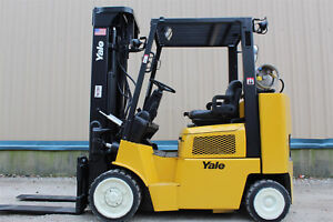 Yale Glc080 8000lb Capacity 3 Stage Mast Forklift Hi lo Lift Traction Tire Truck