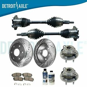 Chevy Gmc Silverado Tahoe Front Drill Brake Rotor Pads Wheel Bearings Axles