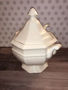 Vintage Ceramic China Octagonal Octagon Soup Tureen And Ladle White Japan