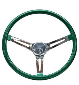 Mooneyes Green Metalflake Slotted Steering Wheel 13 Hot Rod Rat Vtg Gs260cmgr