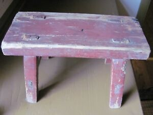 Vintage Wooden Bench Stool Distressed Dark Red Paint Primitive Style