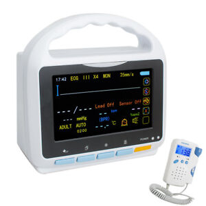 5inch Tft Multi parameter Patient Monitor Ecg Nibp Spo2 Pr Temp Portable Machine