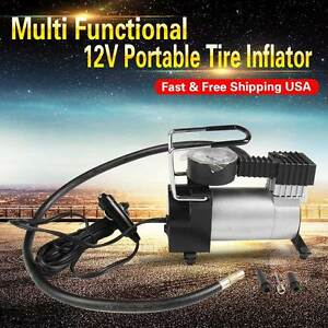 12v Multi Function Portable Compression Inflatable Pump Tire Inflator Heavy Duty