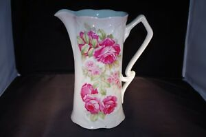Lemonade Pitcher Large Porcelain Rose Pattern Germany
