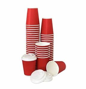 60 Pack 12 Oz Premium Quality Disposable Hot Paper Coffee Cups With Lids