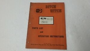 Ditch Witch Es30 24 R60 R65 Trencher Operators Parts Manual Ci61