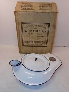 Antique Vintage Blue White Enameled Bed Pan Urinal With Box Jones Metal Co