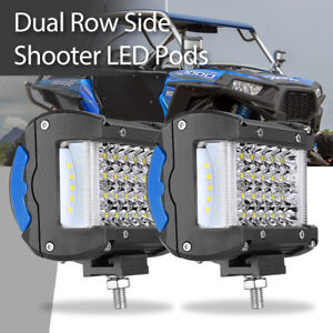 2x 4in 440w Quad Row Led Work Lights Flood Spot Offroad Side Shooter Driving Fog