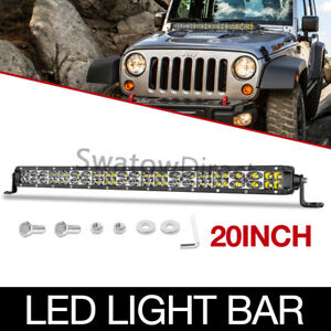 20 in Led Work Light Bar Slim Dual Row Combo Offroad Driving Fog Jeep Suv 4wd 22