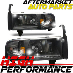 For 2000 Dodge Ram 1500 Headlight Black Clear