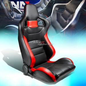 Full Reclinable Black Red Stripe Pvc Leather Bucket Racing Seat Slider Right
