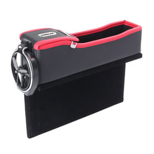 Driver Seat Storage Organizer Box W cup Coil Pocket Left Side For Universal Auto