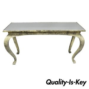 Vintage Hollywood Regency James Mont Style Console Hall Sofa Table W Mirror Top