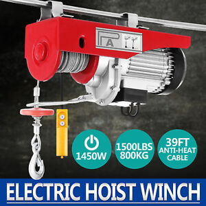 1500lbs Electric Hoist Winch Lifting Engine Crane Lift Hook Cable Hanging Great