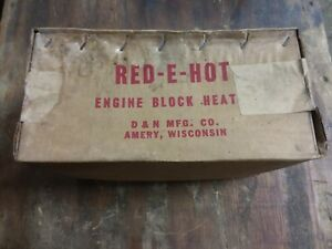 Red E Hot Engine Block Heater Propane Fired Antique Water Heater Unopened Box