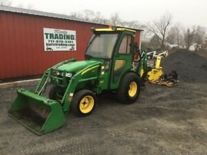 2009 John Deere 2320 4x4 Compact Tractor Loader Backhoe W Cab Snowblower