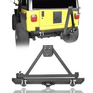 Textured Black Rear Bumper With Tire Carrier Fit Jeep Wrangler Yj Tj 87 06